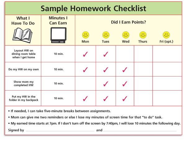 Homework Sample Checklist